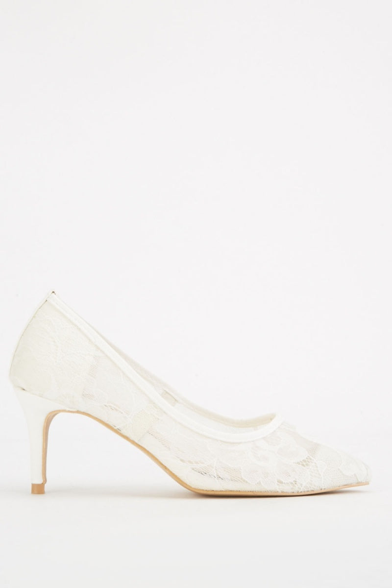 Jaidyn Lace Detailed Court Heel Shoes-Woven Trends