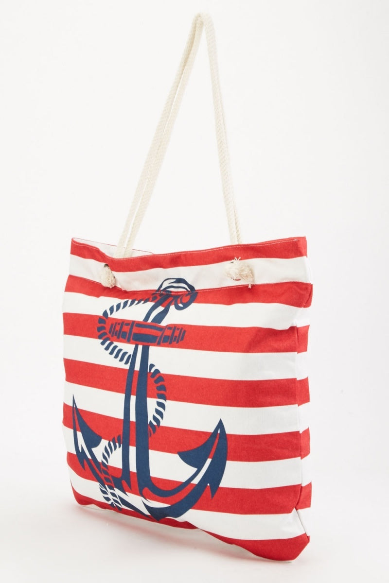 Valeria Zip Top Anchor Print Red Stripes Design Tote Shopper Bag