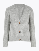 Sabine Textured V-Neckline Relaxed Fit Cardigan