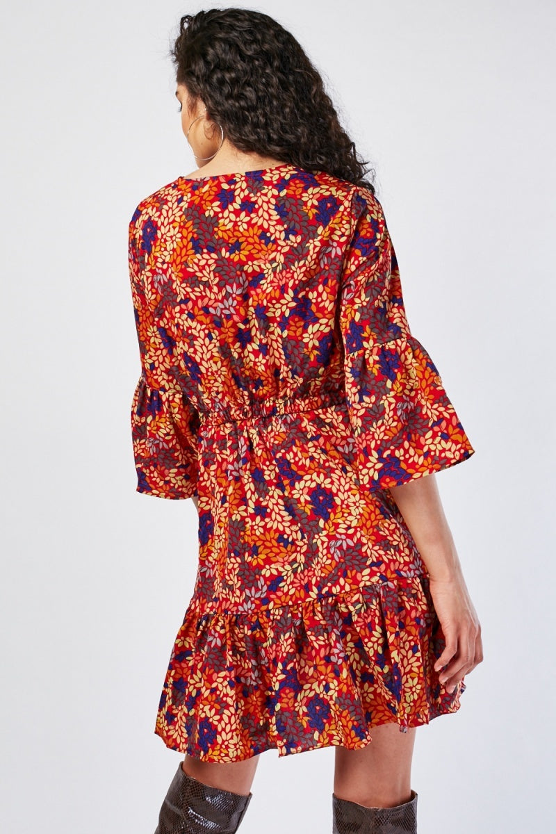 Edna Floral Overall Print Bell Sleeve Wrap Dress