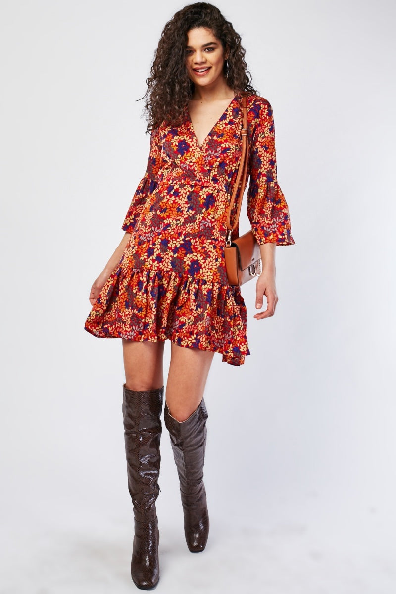Edna Floral Overall Print Bell Sleeve Wrap Dress-Woven Trends