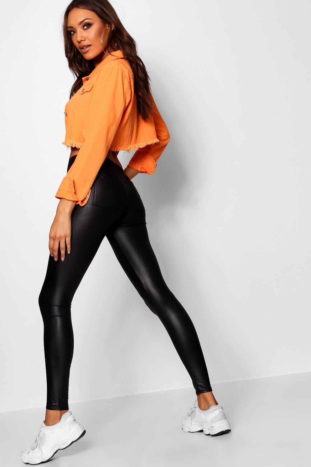 Estelle Wet Look Datex Pocket Back Leggings - Woven Trends