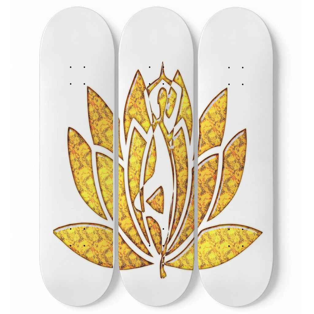 Gold Clasp Abstract Art Skateboard Decor - woven-trends