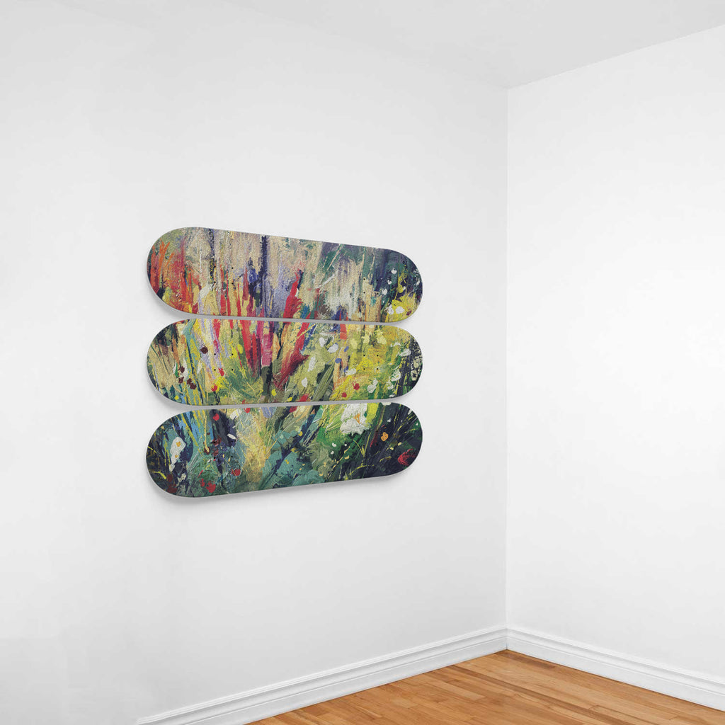 Abstract Wildflower Skateboard Wall Decoration Woven Trends