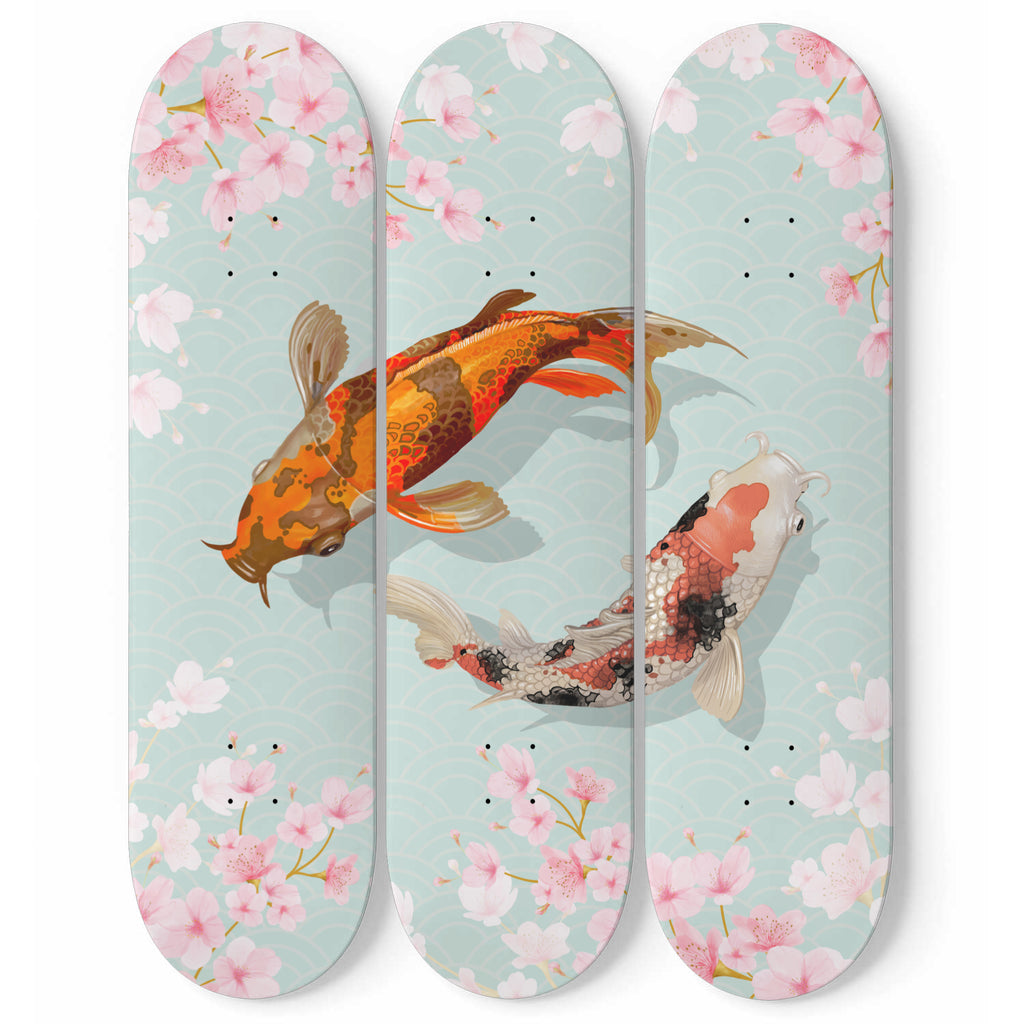 Japanese Koi Fish Skateboard Wall Decor - woven-trends