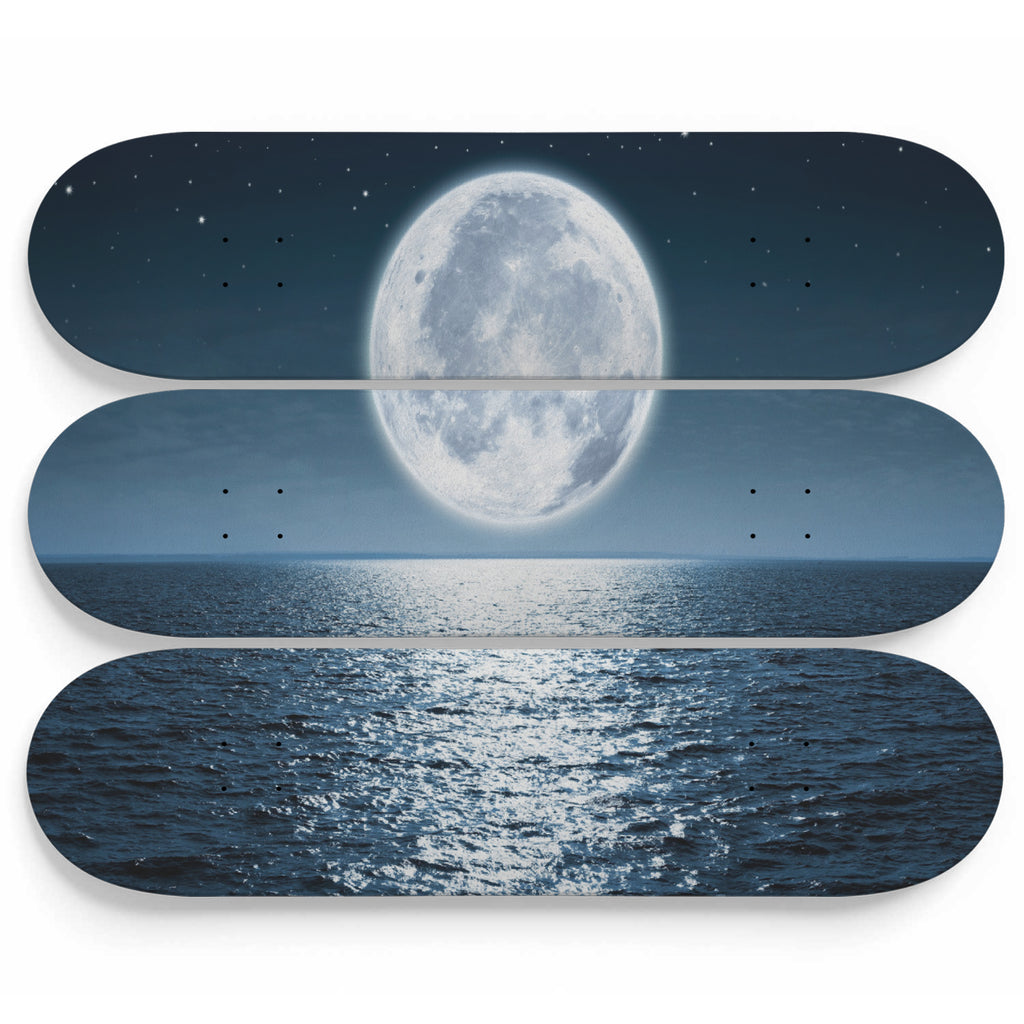 The Rising Full Moon Over Sea Skateboard Decor - woven-trends