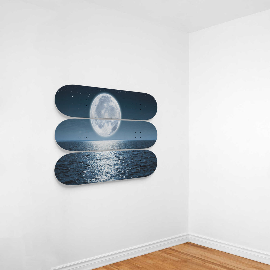 The Rising Full Moon Over Sea Skateboard Decor - Woven Trends