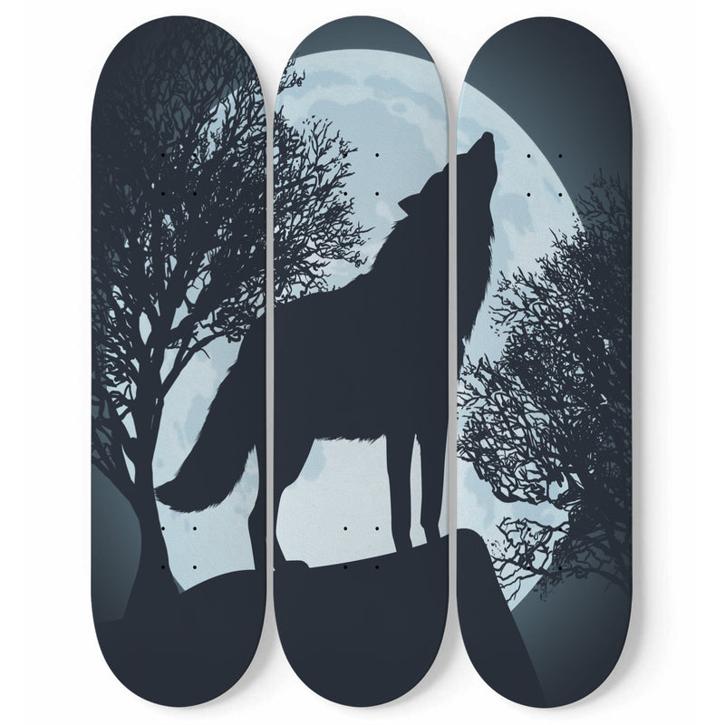 Howl of The Lone Wolf Skateboard Art Decor - Woven Trends