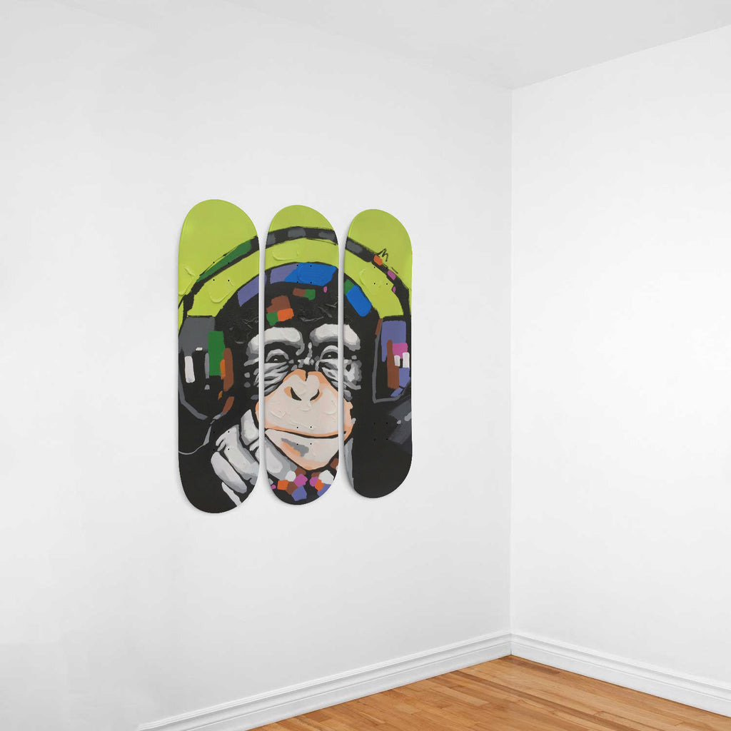 Tribal D.J. Monkey Skateboard Wall Decor - woven-trends