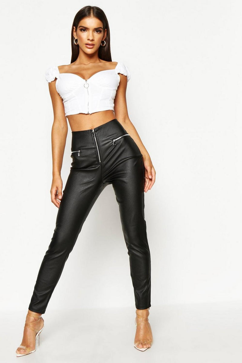Clara High Waist Leather Look Vinyl Trousers - Woven Trends