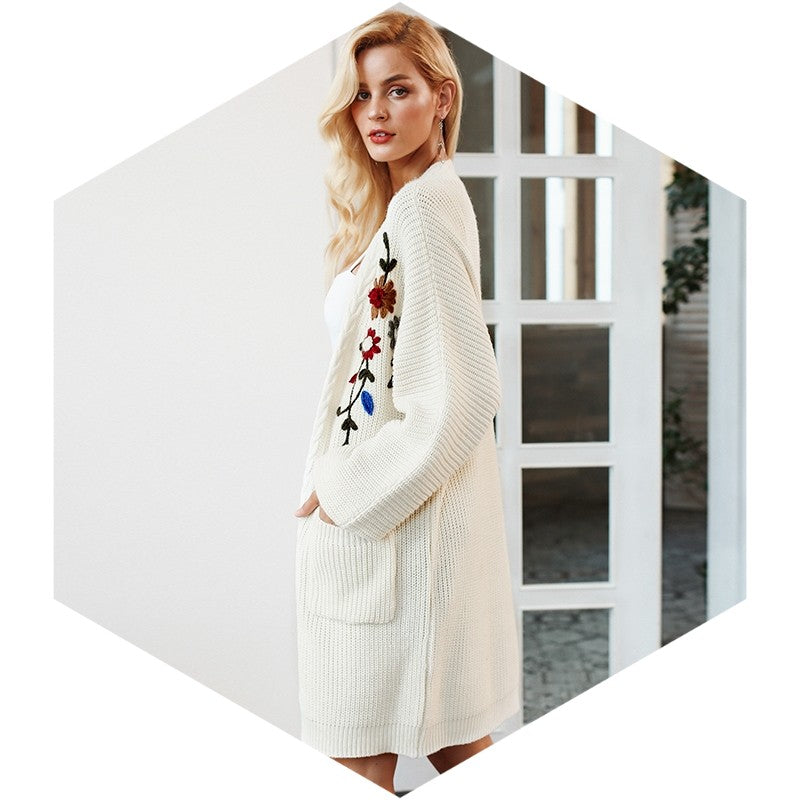 Floral Embroidery Long V Neck Flat Knitted Cardigan - woven-trends