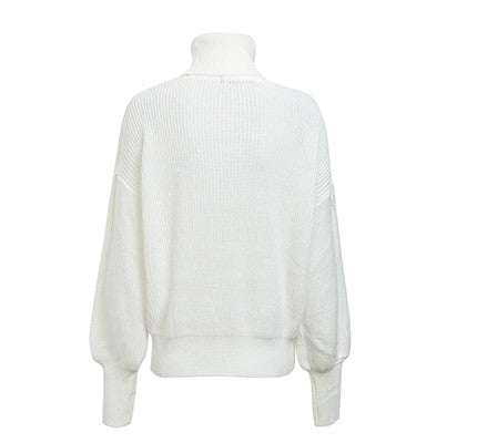 High Turtleneck Sweater Pullover Cardigan - woven-trends