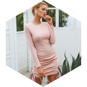 Drawstring Knitted Sweater Bodycon Dress Woven Trends