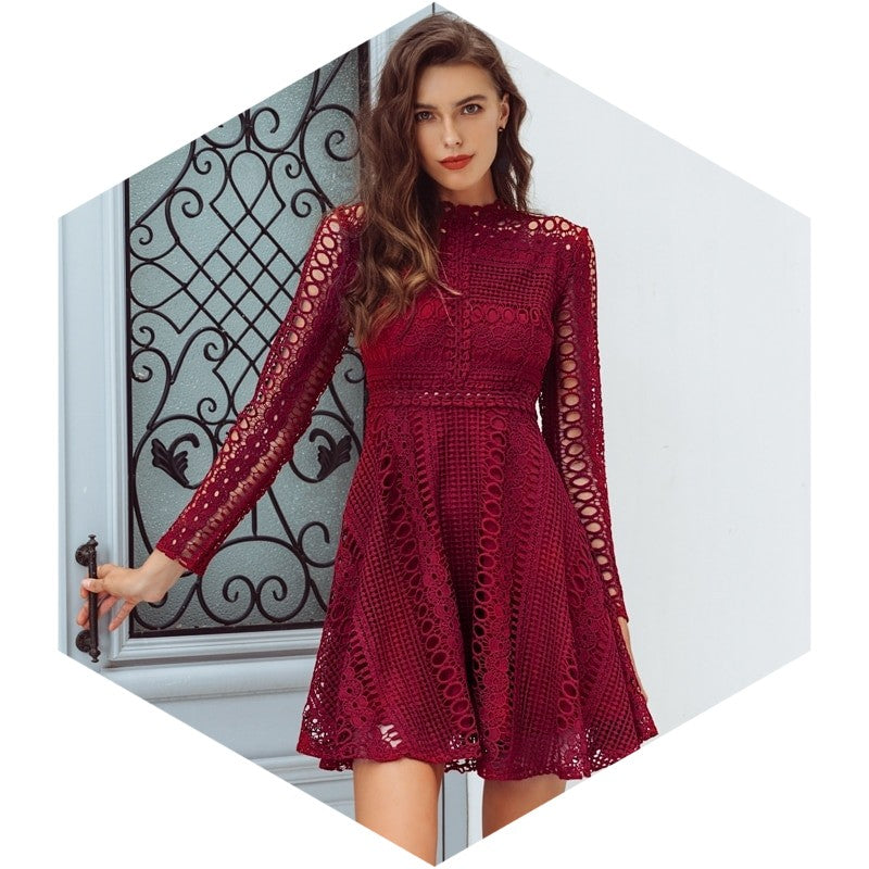 Lace Detailed Elegant Party Look Chic Dress Woven Trends