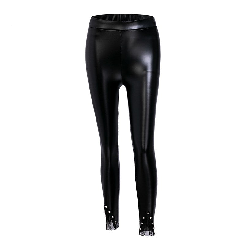 Studded Bead Detail Skinny PU Leather Trousers