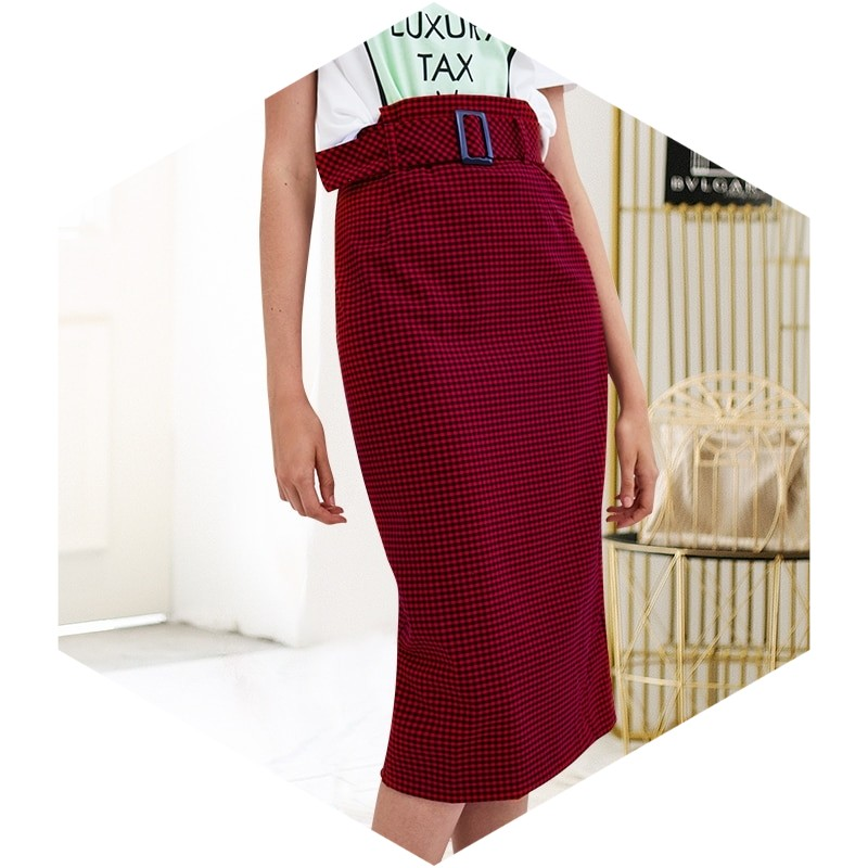 Plaid Print High Waist Pencil Midi Skirt With Sash Details - woven-trends