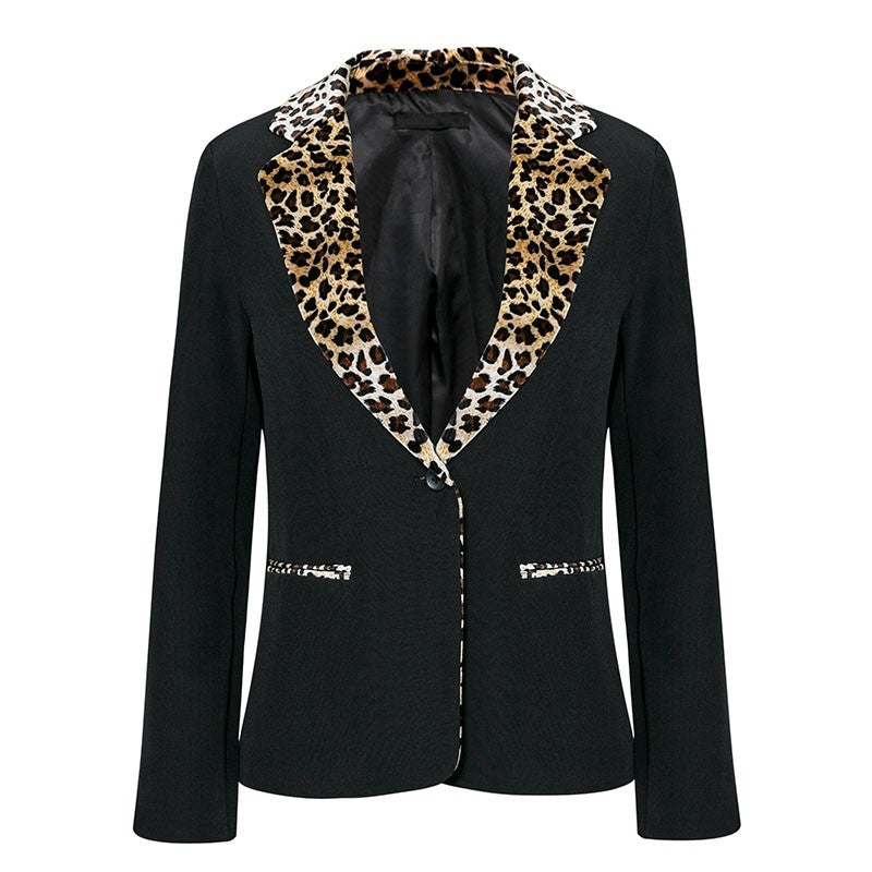 Leopard Print Notched Collar Blazer - woven-trends