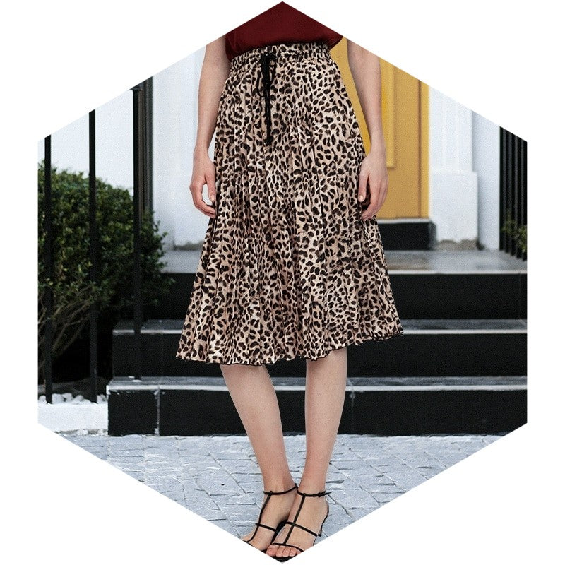 Street Style Leopard Print Pleated Skirt