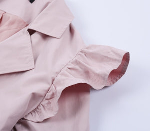 Double Breasted Ruffle Detail Trench Coat Woven Trends
