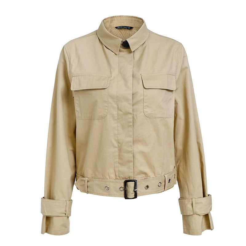 Elegant Street Wear Short Sashes Trench Coat Woven Trends