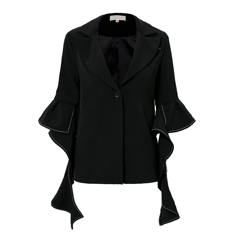 Turndown Irregular Sleeve Blazer Coat - woven-trends