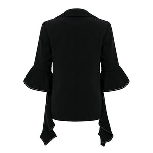 Turndown Irregular Sleeve Blazer Coat