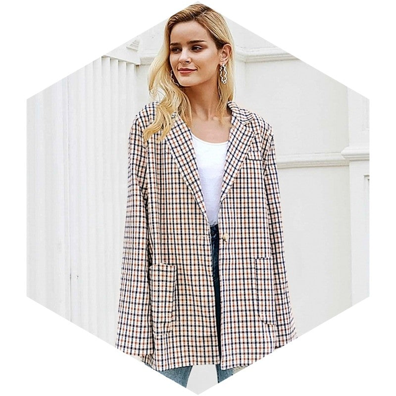 Office Girl Plaid Trim Blazer Suit - woven-trends