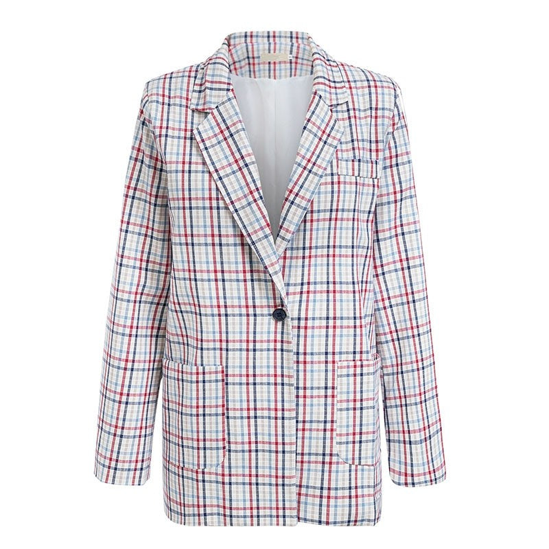 Office Girl Plaid Trim Blazer Suit