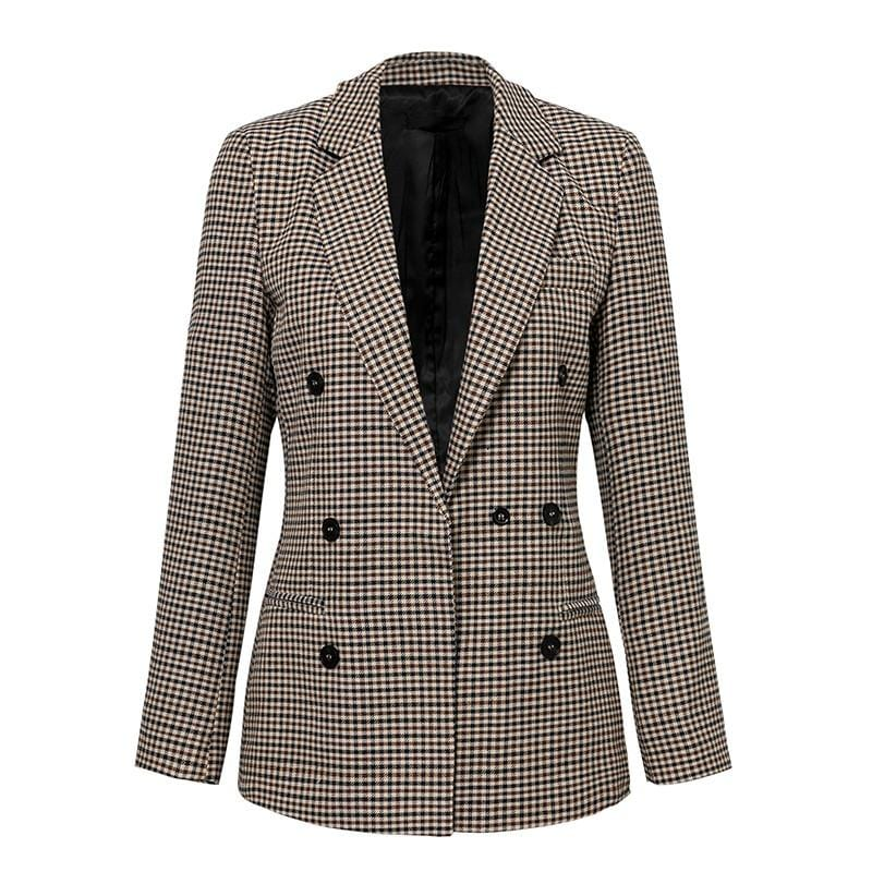 Double Breasted Plaid Slim Fit Office Girl Blazer - woven-trends