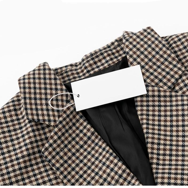 Double Breasted Plaid Slim Fit Office Girl Blazer Woven Trends