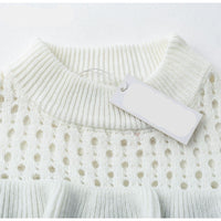 Elegant Hollow Out Ruffle Knit Sweater Woven Trends