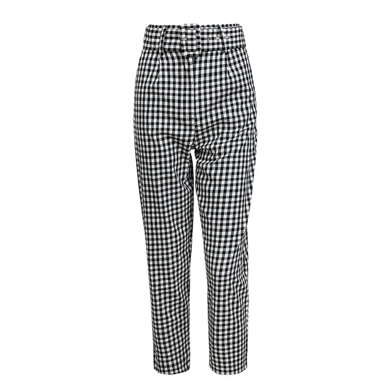 Houndstooth Ankle Length Plaid Casual Pants Woven Trends