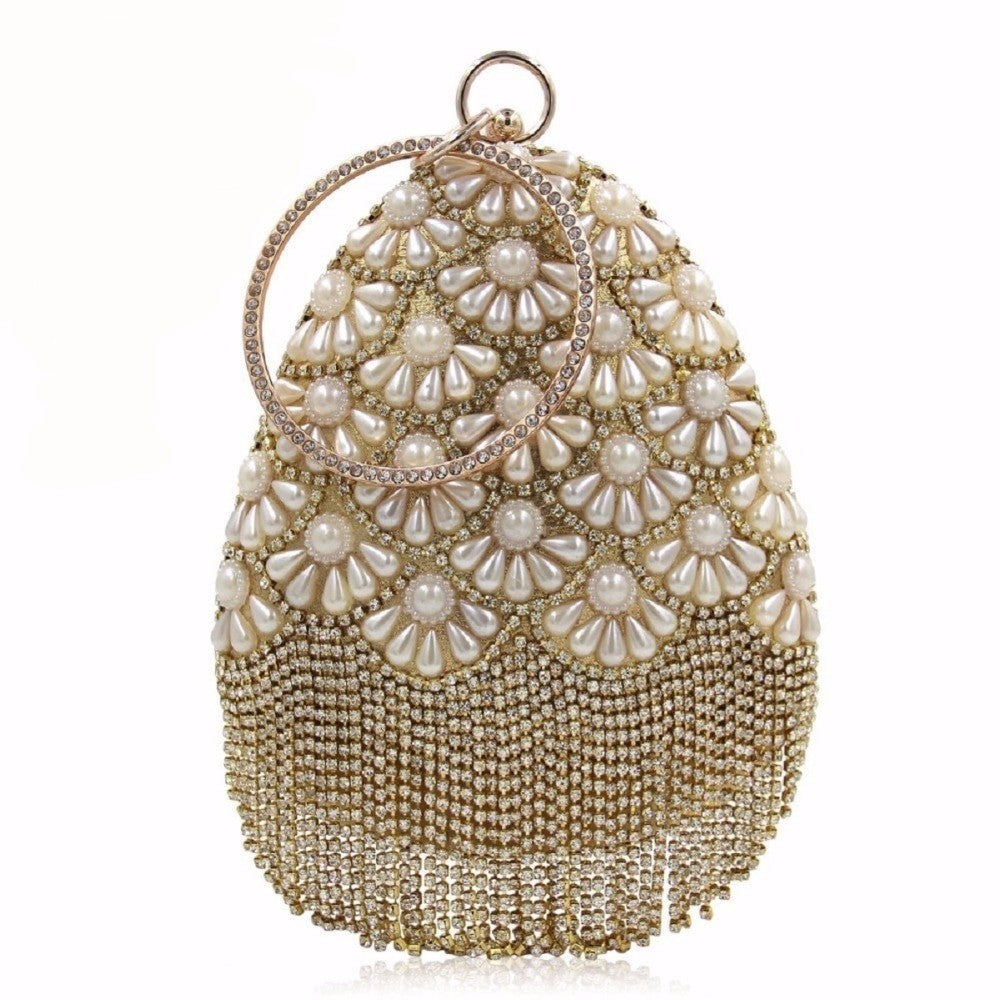 Pearl Embroidered Evening Clutch Purse