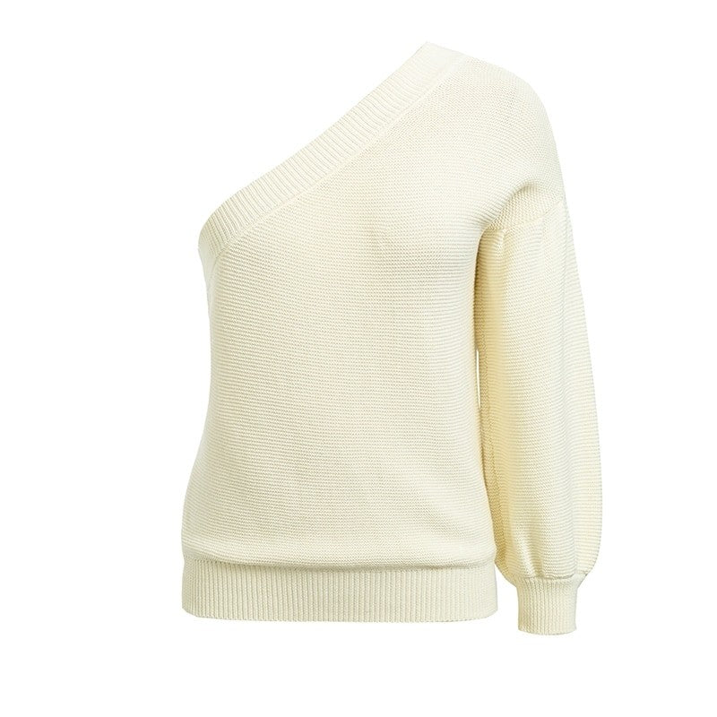 Chic Girl Underarm Single Sleeve Off Shoulder Pullover Sweater Woven Trends
