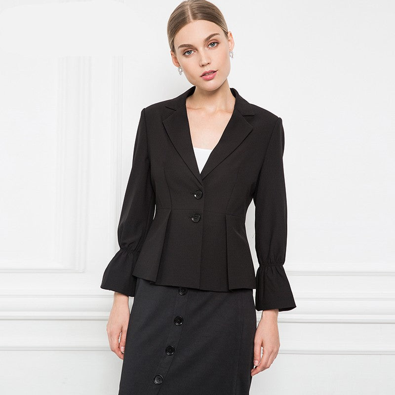 Cuff Flare Sleeve Notched Collar Plus Size Blazer Woven Trends
