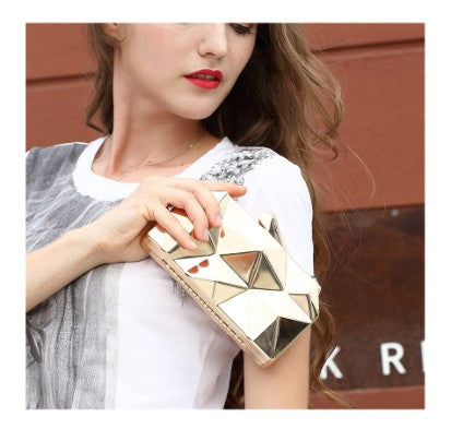 Hexagon Cut Metal Effect Evening Clutch Bag Woven Trends