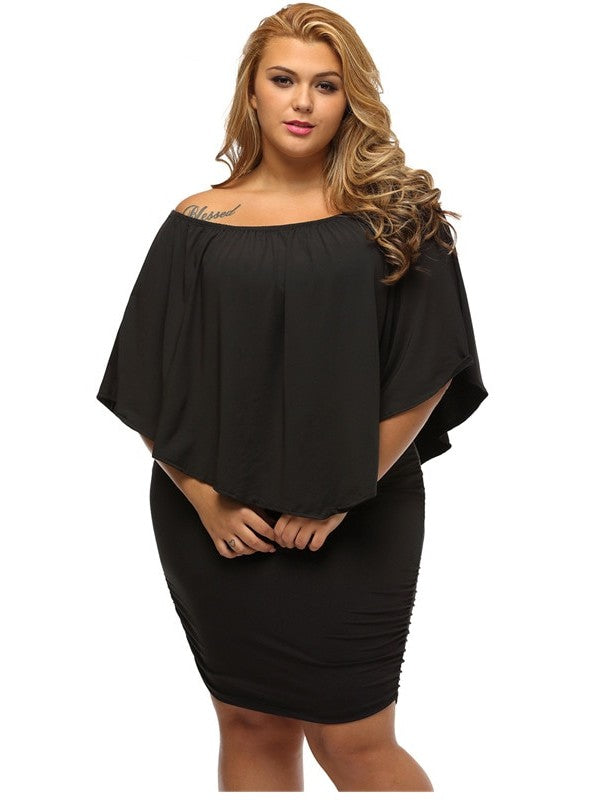 Off Shoulder Black Mini Dress