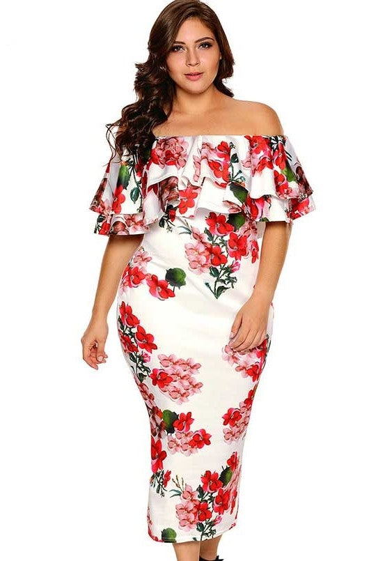 Off Shoulder Ruffle Pleat Bodycon Party Dress