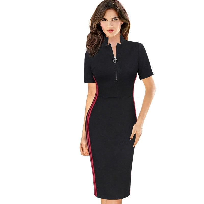 Stand Collar Neck Zipper Detail Office Girl Bodycon