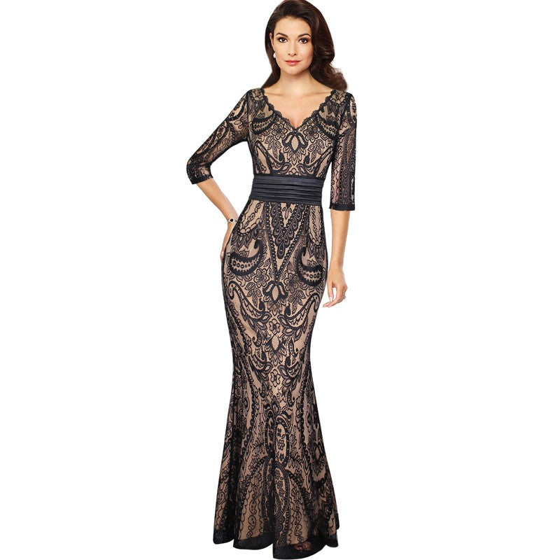 Full Lace Sexy V Neck Ruched Evening Dress Woven Trends