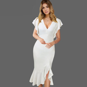 Flare Ruffle Sleeves V Neck Plunge Elegant Dress Woven Trends