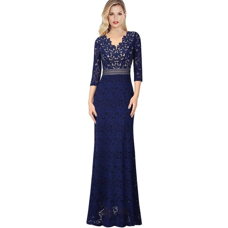 Alexa Keyhole Lace Trim Formal Evening Maxi Dress - woven-trends