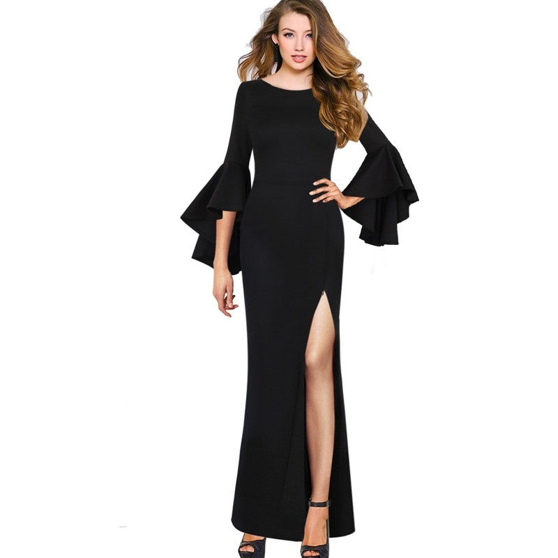 Angelique High Slit Formal Evening Dress Woven Trends