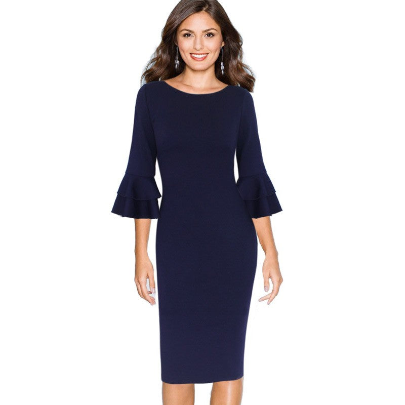 Flare Bell Three Quarter Sleeve Pencil Dress Woven Trends