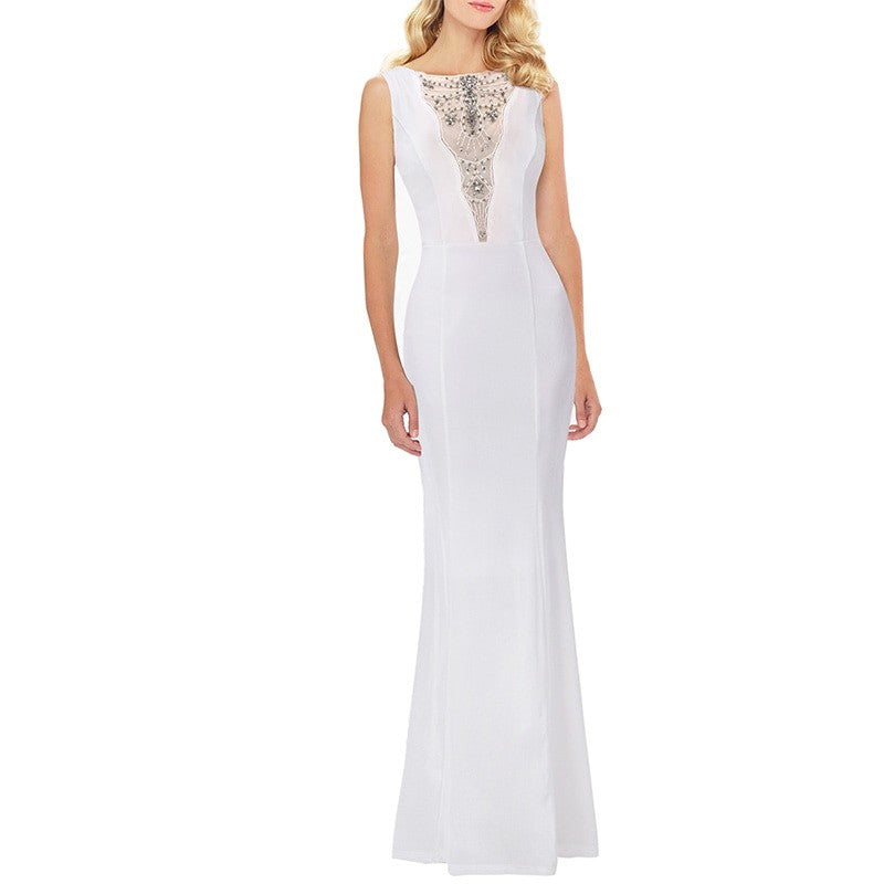 Chloe Mesh Bead Embroidery Formal Evening Maxi Dress Woven Trends