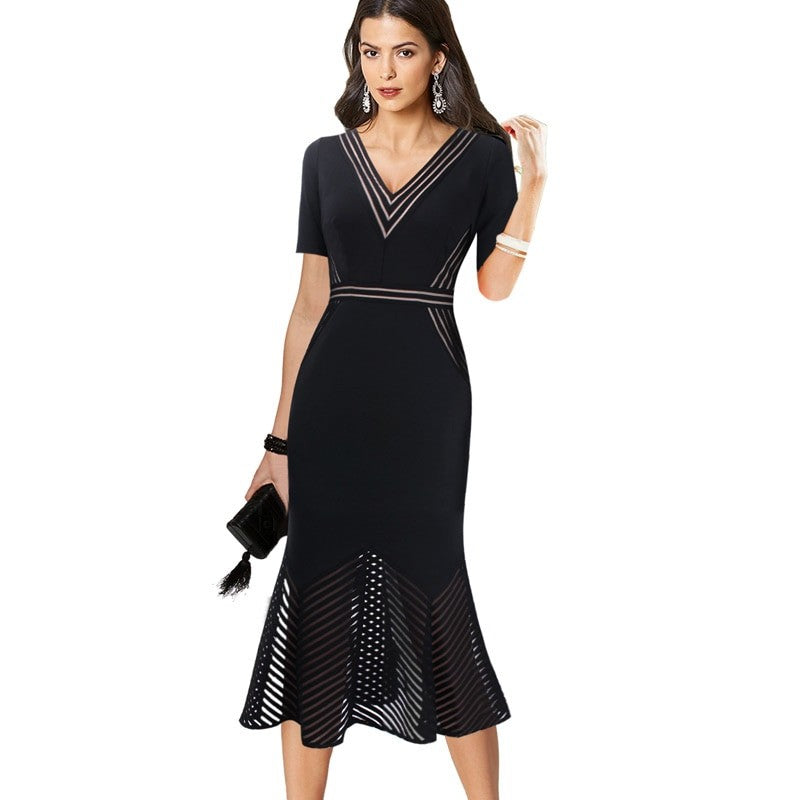 Emma V Neck Cocktail Party Dress Woven Trends