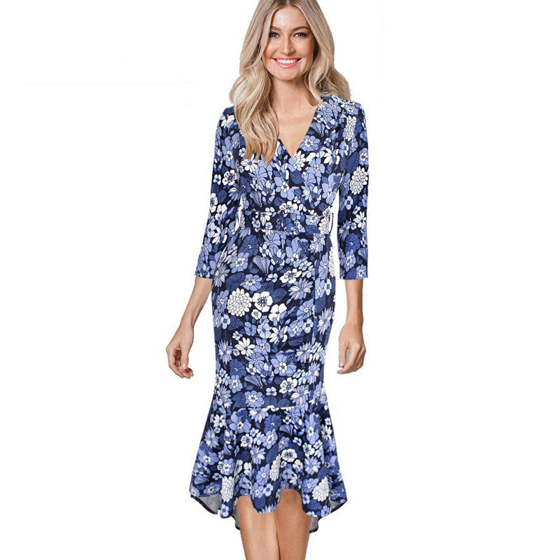 Angelika Retro Floral Print V Neck Casual Cocktail Dress Woven Trends
