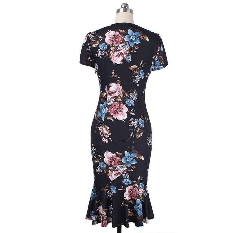 Ewelina Floral Mermaid Fishtail Dress Woven Trends