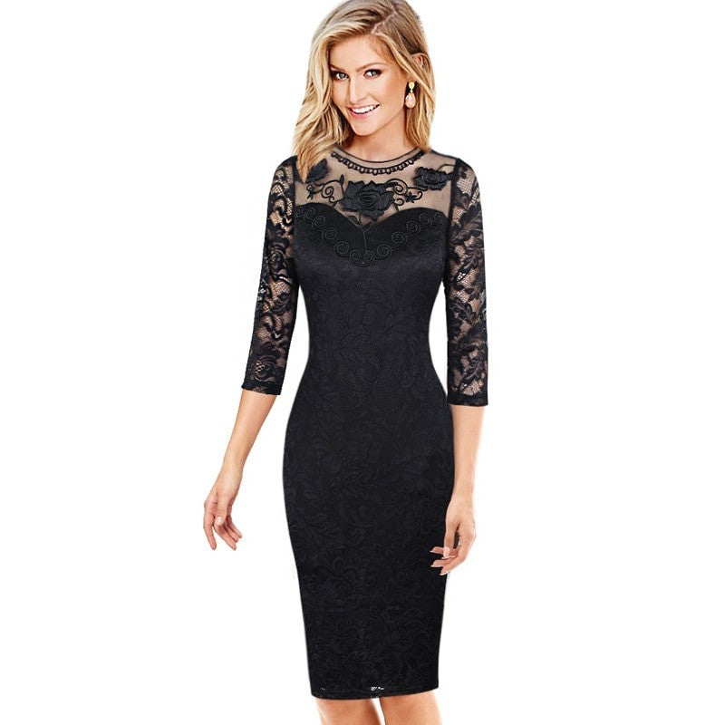 Amanda Black Embroidered Mesh Bodycon Dress Woven Trends