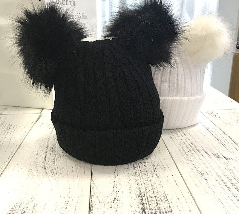 Knitted Pom Pom Puff Beanie - woven-trends